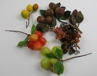 Lot of 7 Vintage Fruit Millinery Crafts Miniature Picks Plastic Pears Apples NOS