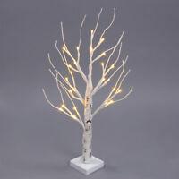 Pre Illuminato Argento Albero di Betulla Luci LED Lampada da Tavolo