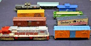 Tyco, Life-Like, Etc. Lot of 9 Train Cars Silver Streak, Burlington, Gerber's HO