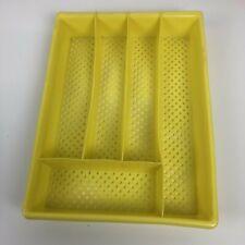 VTG Plastic Silverware Flatware Divider Kitchen Drawer Tray Organizer 60s Yellow