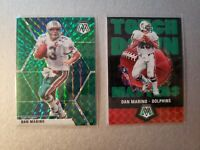 2020 Mosaic DAN MARINO green prizm 2x lot Base + Touchdown Masters Dolphins