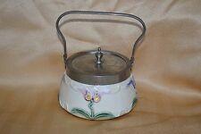 Art Nouveau 20s Iris majolica Lidded sugar metal handled bowl