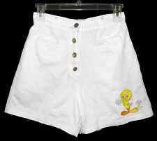 Sz 16 Looney Tunes Tweetie Girl's Shorts High Rise White 100% Cotton Appliqué