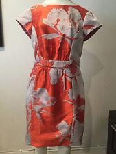Preowned CAROLINA HERRERA Orange and Ivory Floral Dress, Size 8 !!!! CAMDAY