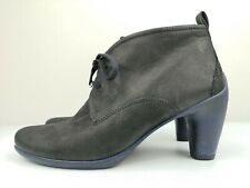 ECCO Designer Black Leather Ladies Women Ankle High Heel Shoe Boot Size 7 40