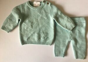 Baby Boys M&S Blue Knitted Cotton Outfit Up to 1 Month, 0-3, 3-6 months  RRP £15