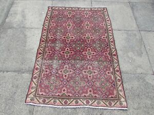 Shabby Chic Worn Vintage Hand Made Traditional Pink Red Wool Small Rug 135x90cm