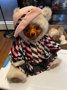"""Vintage Robert Raikes Wooden Large Bear Doll Glamour 20s Pink Outfit 20"""" RARE"""