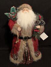 "Santa Claus Tree Topper 18"" Red Felt Fur Table Top Figurine Christmas Decor NEW"