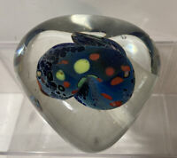 Large Hand Blown Art Glass Dichroic Iridescent Paperweight Swirl signed by Karg