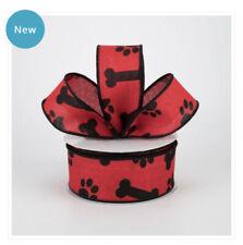 Black Dog Paw Prints #9 Ribbon Wired Edge Sheer Puppy Dawg Pet 20 yards