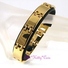 Strong Magnetic Tungsten Arthritis Pain CTS RSI Brick Link 24K Gold PLT Bracelet