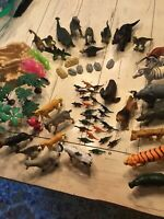 Lot of 70 Plastic Toy Farm, Plains, Animal Dinosaur Figures Lot of 70 plus bag