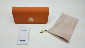 NEW authentic Tory Burch orange gold logo glasses sunglasses case - pouch only
