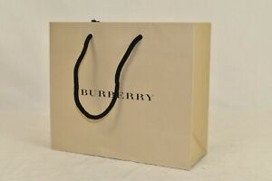 "NEW BURBERRY BEIGE LOGO PAPER SHOPPING GIFT BAG ACCESSORIES 9"" x 7.75"" x 3.5"""