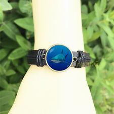 Glass Cabochon Leather Charm Bracelet Shark Ocean Black Bangle 20 mm