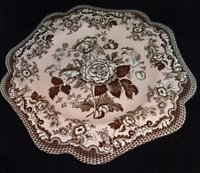 SPODE Archive Collection British Flowers ROSA Luncheon Pink & Brown Plate NEW