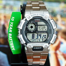 Casio AE-1400WHD-1AV World Time 5 Alarms Watch 10 Year Battery Steel Band New