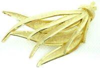 VINTAGE 1970s BROOCH LAPEL PIN 3D WHEAT GRASS BOUQUET BRUSHED GOLD TONE METAL