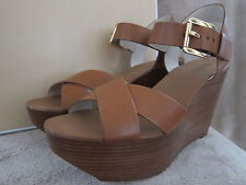 MICHAEL KORS Peggy Luggage Brown Leather Platform Wedge Heels Shoes Size 9 M NWB