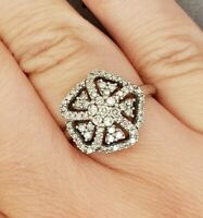 Ladies Diamond Ring10ct White Gold Round Brilliant Cut 0.80ct Preloved VAL $1800