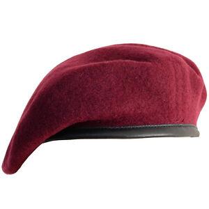 100% Wool BRITISH BERET- All Sizes MAROON Parachute Regiment Army Cap Hat Para