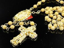 Mensbeaded 9 Mm Yellow Gold Finish Diamond Rosary Necklace 4 Ct 30 +7 Inches