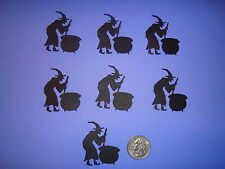 25 HALLOWEEN LARGE BLACK WITCH & CAULDRON DIE CUTS PUNCHES CONFETTI