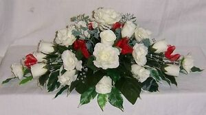 gorgeous wedding flowers top table decoration red & ivory roses & crystals