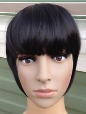 jet black clip in on fake fringe bangs hair extension hair piece accessory new