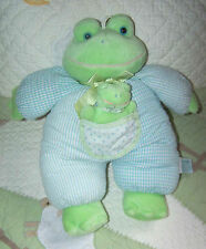 Russ Berrie Blue Striped Seer Sucker POUCHES Frog w/Baby Squeaker Pocket EUC 13""