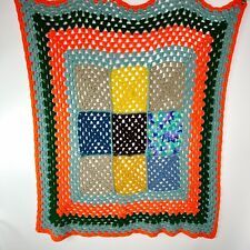 Crochet Multicolored Handmade Square Blanket Afghan 41 x 44