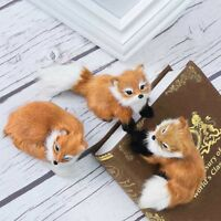 Brown Squatting Simulation Fox Plush Fur Toy Home Decor Animal Doll