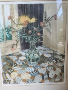 Richard Bawden Flowers & Patchwork Limited Edition  Signed 82/150 Aquatint Print