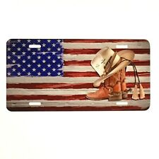 Cowboy Boots & Hat Us Flag Car Aluminum Vanity License Plate Usa American Flag