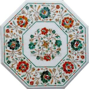 13 Inches Multi Gemstones Inlaid Coffee Table Top White Marble Bed Side Table