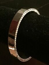 Swarovski Crystal High Polish Edge Cuff Bangle - Large