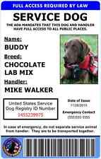 Professional Service Dog ID Card - ADA Rated - Comes With Registration - 1A