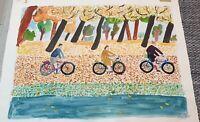 Original Gemälde Aquarell Signiert Hans Mau Leipziger Schule 1952 naive Kunst