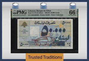 TT PK 73 1994-95 LEBANON 50000 LIVRES BANQUE DU LIBAN PMG 66EPQ GEM UNCIRCULATED