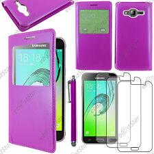 Housse Coque Etui L-View PU Cuir Violet Samsung Galaxy J3 2016 Stylet 3 Films