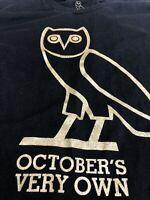 Octobers Very Own T Shirt Drake OVO Black Gold Owl Hip Hop Music Tee Medium M