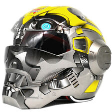 New Yellow Bumblebee Mens Iron Man Motorcycle ATV Helmet Half Helmet Open Face #