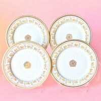 "J. POUYAT FRENCH LIMOGES SET OF FOUR 7 1/2"" DESSERT PLATES WHITE PINK FLOWERS"