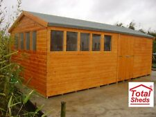 20FT X 10FT HEAVY DUTY GARDEN SHED EXTRA HEIGHT TOP QUALITY WOODEN TIMBER
