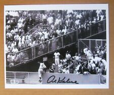 Al Kaline B&W 8 x 10 Photo robbing Mickey Mantle HR - with printed signature.