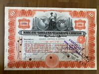 MARCONI WIRELESS TELEGRAPH COMPANY ~ 1913 or 1912 STOCK CERTIFICATE TITANIC