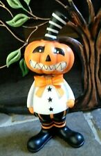 Halloween Pumpkin with Big Smile Bobblehead Black & White Striped Top Hat