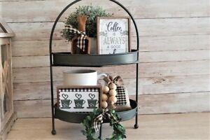 5 Piece Mini CoffeeSign Set / Tiered Tray Bowl Filler / Farmhouse Rustic Décor