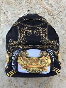 **NEW**VERSACE Gainni Backpack Black with Patterns